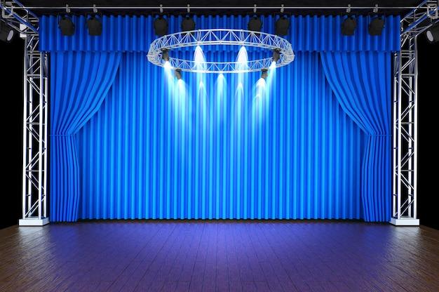 Escenario De Teatro Con Cortinas Azules Y Focos
