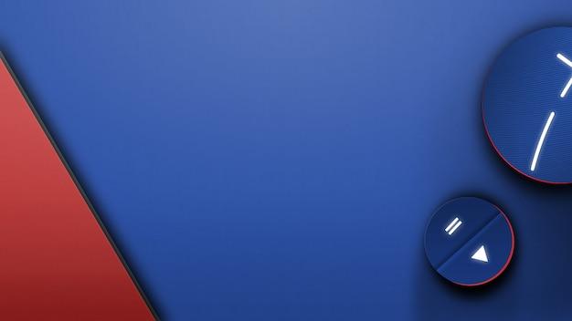 Escritorio azul con dispositivos de música Foto Premium