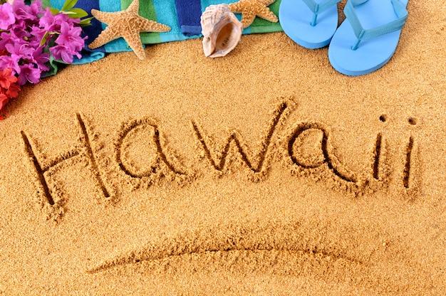 Escritura playa hawai Foto gratis