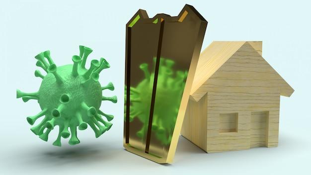 Escudo casero de madera y oro para virus de protección, representación 3d. Foto Premium