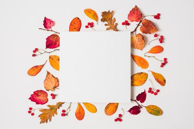 Espacio en blanco de la copia con el marco colorido de las hojas de otoño Foto gratis