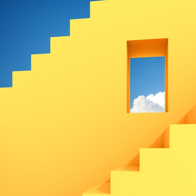 Espacio de construcción abstracto mínimo con ventana cuadrada y escalera sobre fondo de cielo azul, diseño arquitectónico con sombra y sombra sobre superficie amarilla. representación 3d Foto Premium