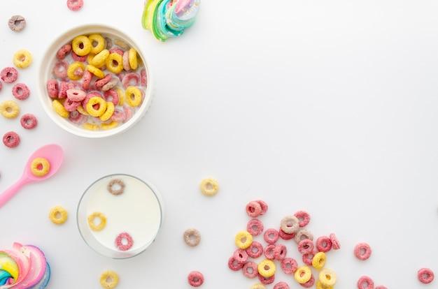Espacio de copia de merienda de cereal saludable Foto gratis