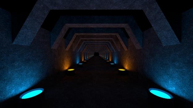 Espacio vacío con paredes de concreto y lámparas en las paredes que difunden luz difusa suave Foto Premium