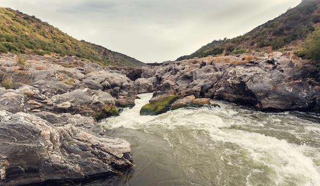 Espuma en los rápidos del río con roca cubierta de musgo verde y amarillo. Foto Premium