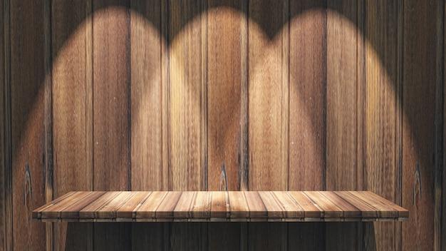 Estante de madera 3d con focos brillando hacia abajo. Foto gratis