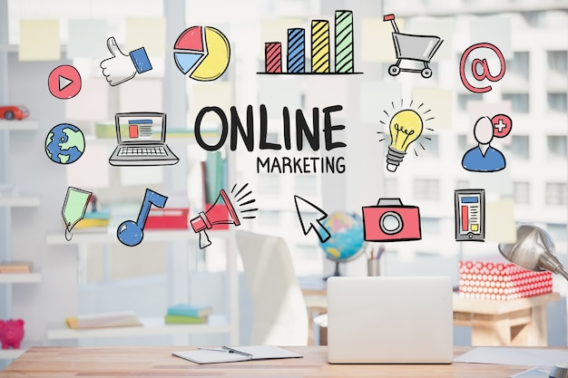Estrategia de marketing online con dibujos Foto Gratis