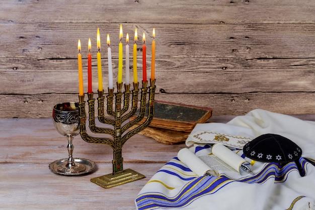Estrella de david hanukkah menorah Foto Premium