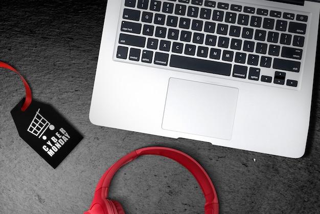 Etiqueta negra con texto de cyber monday en el piso Foto Premium