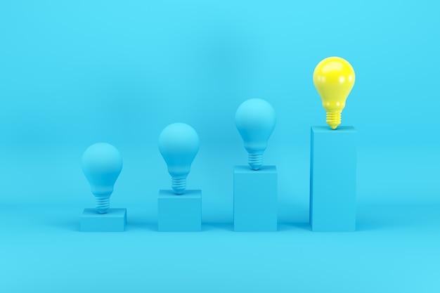 Excelente bombilla de luz amarilla brillante entre bombillas azules en gráfico de barras en azul Foto Premium