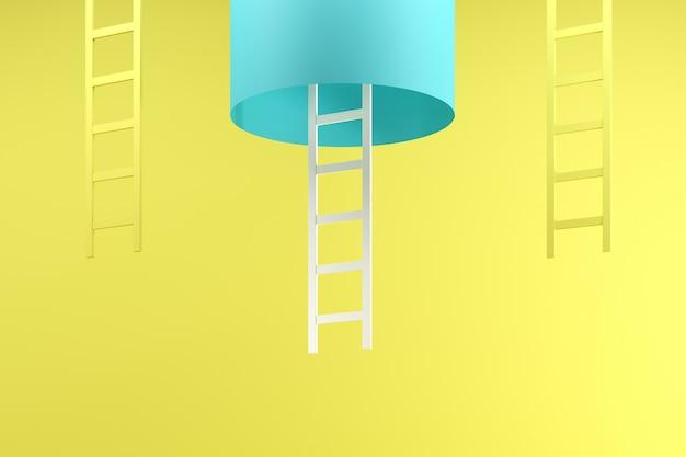 Excepcional escalera blanca colgando dentro del tubo azul entre dos escaleras amarillas sobre azul Foto Premium