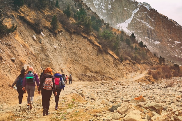 Los excursionistas en las montañas. grupo de amigos o turistas paseos por el mirador de las montañas. Foto Premium