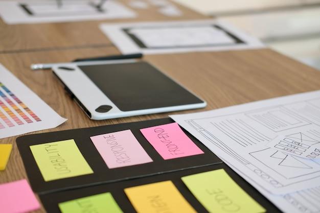 Experiencia del usuario diseñador ux diseñando web en diseño de teléfonos inteligentes. Foto Premium