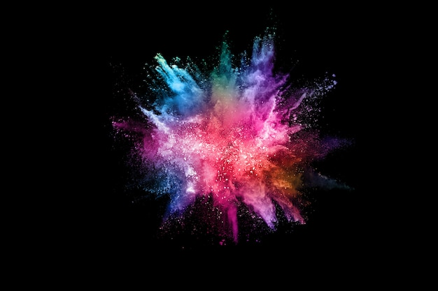 Explosión de polvo de color abstracto en un negro. Foto Premium