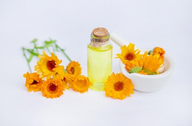 El extracto de caléndula. plantas medicinales. Foto Premium