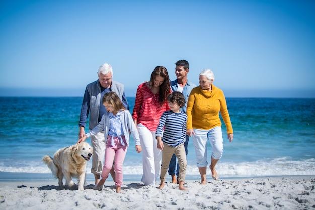 Familia feliz con su perro en la playa Foto Premium