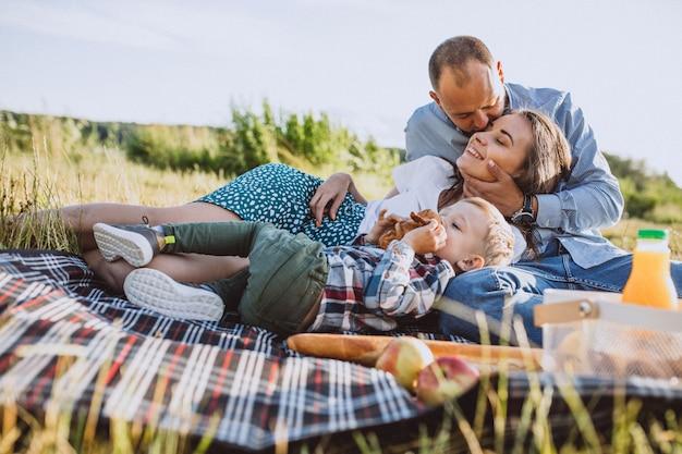 Familia joven con pequeño hijo haciendo picnic en el parque Foto gratis