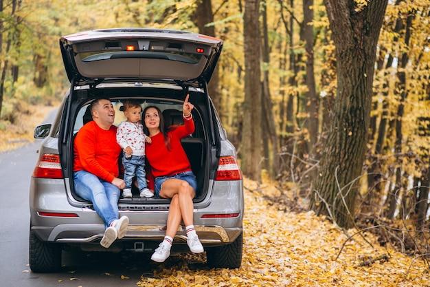 Familia con un pequeño hijo en el parque otoño sentado en el coche Foto gratis