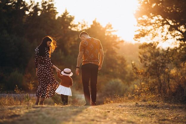 Familia con su pequeña hija en un campo de otoño Foto gratis
