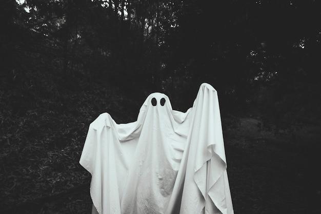 Fantasma sombrío con las manos en alza de pie en el bosque Foto gratis