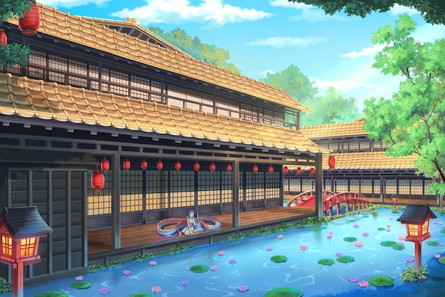 Fantasy traditional japanese house - día. Foto Premium