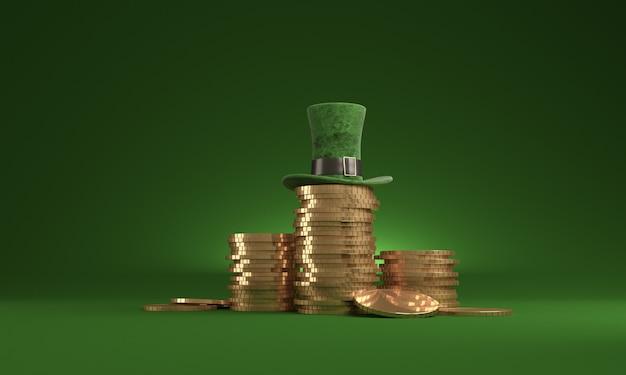 Fecha el día de san patricio, 17 de marzo, con sombrero de duende y olla de oro, en verde. Foto Premium