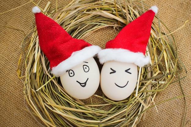 Felices huevos en navidad. Foto Premium
