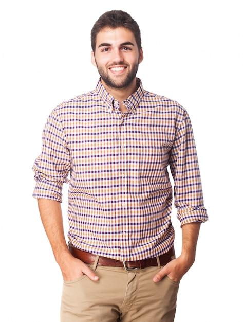 La felicidad del hombre retro del seguro de la camisa Foto gratis