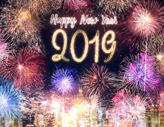 Feliz Ano Nuevo 2019 Fuegos Artificiales Sobre El Edificio Del