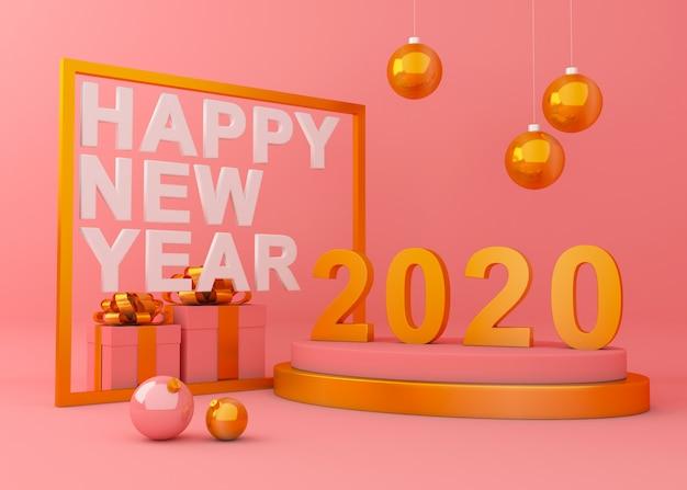 Feliz año nuevo 2020 fondo creativo 3d rendering ilustración. Foto Premium