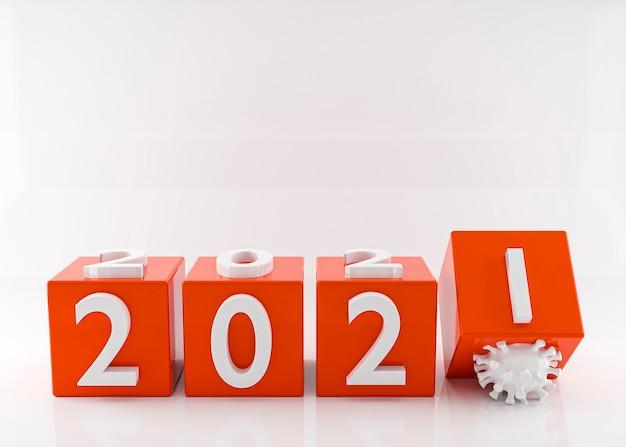 Feliz año nuevo 2021. fin de 2020 concepto de coronavirus. representación 3d. ilustración 3d Foto Premium