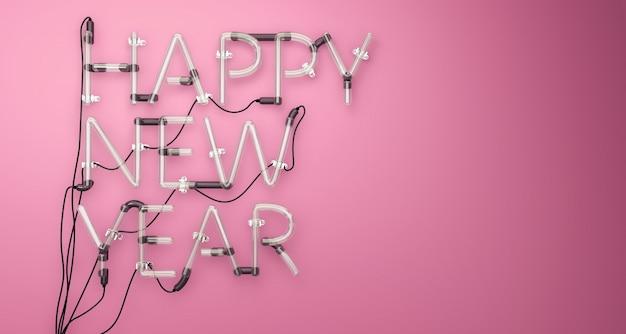 Feliz Año Nuevo Neon Light Pink 3D Foto Gratis