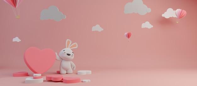 Feliz día de san valentín y escarda elemento de diseño. fondo rosa representación 3d Foto Premium