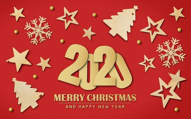 Feliz navidad y feliz año nuevo 2020 antecedentes Foto Premium