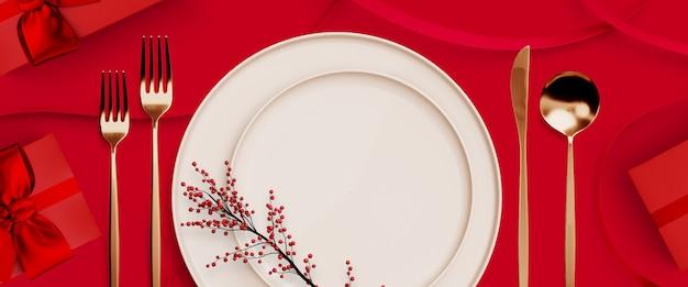 Feliz navidad, feliz año nuevo y san valentín. caja de regalo roja y vajilla en rojo. ilustración de renderizado 3d Foto Premium