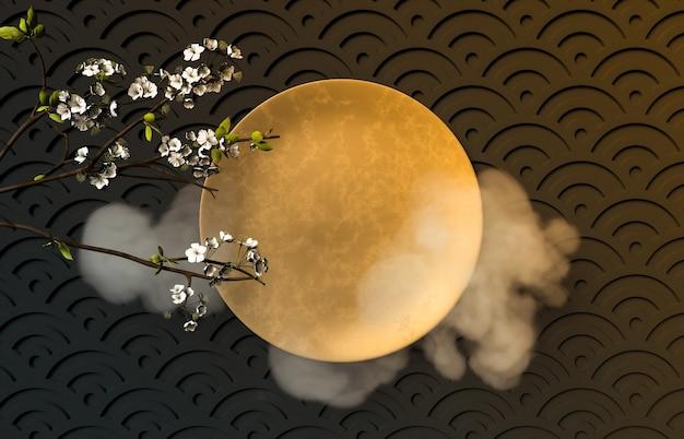 Festival chino de mediados de otoño con placa de oro vacía. Foto Premium