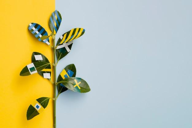 Ficus pintados con copia espacio de fondo Foto gratis