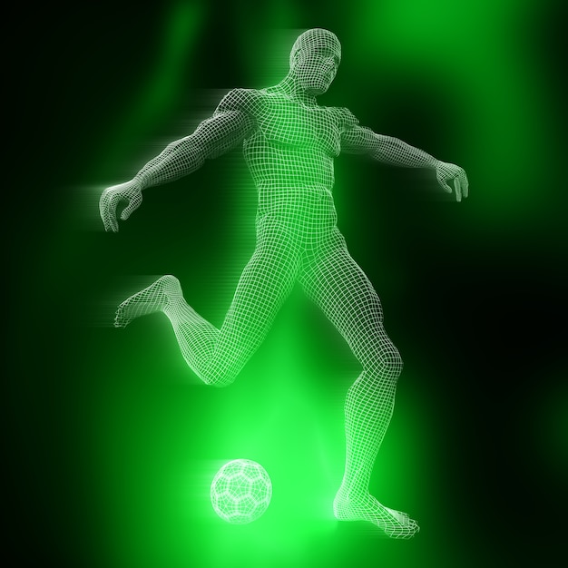 Figura de futbolista masculino 3d con diseño de estructura metálica Foto gratis