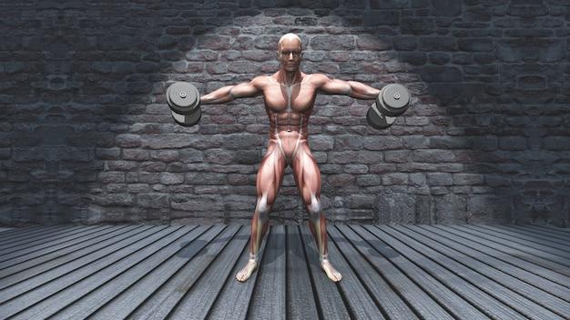 Figura masculina 3d en mancuerna de pie levantamiento lateral levantada brazos posan Foto gratis