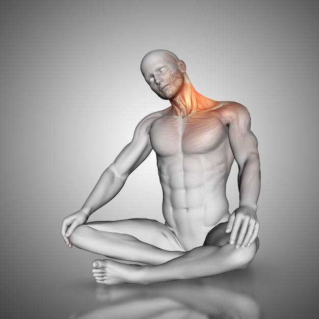 Figura masculina en pose estiramiento del cuello Foto gratis