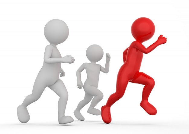 Figuras competitivas corriendo Foto gratis