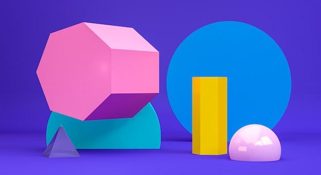 Figuras geométricas primitivas abstractas minimalistas, colores pastel, render 3d Foto Premium