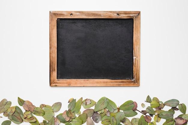 Flat lay de plantilla de pizarra con concepto de naturaleza Foto gratis