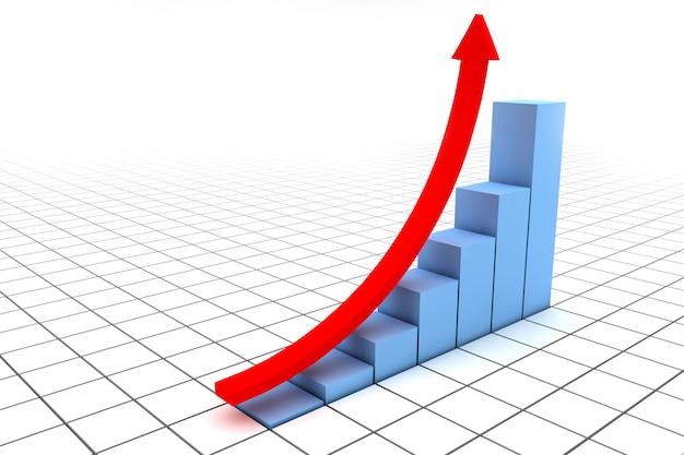 Flecha roja en un gráfico azul Foto Premium