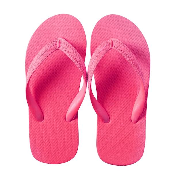 Flip flop sandalias de playa rosa aislado en blanco Foto gratis