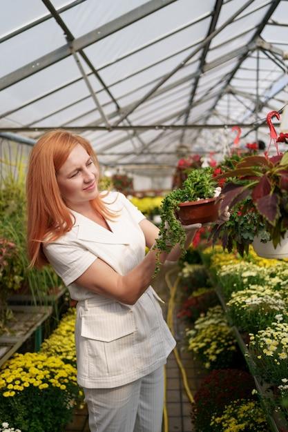 Floreria sonriente en su vivero inspeccionando flores en macetas mientras tiende a las plantas del jardín en el invernadero Foto gratis