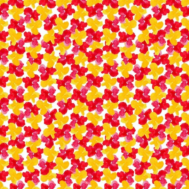 Flores acuarelas rojas y amarillas en patrones sin fisuras Foto Premium