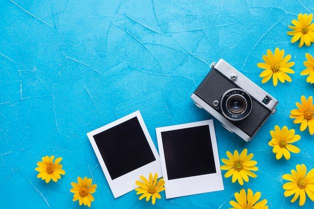 Flores de cardo de ostras españolas y cámara polaroid Foto gratis