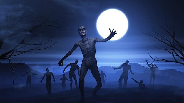 Fondo 3d de halloween con paisaje zombie Foto Premium