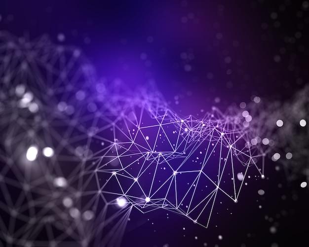 Fondo abstracto 3d de baja poli con líneas y puntos de conexión Foto gratis